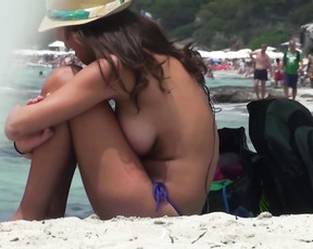 Small or big boobs on naturist beach but with erected nipples! Enjoy it! ;).
