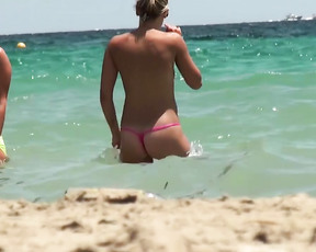 My wife and I were on our honeymoon and saw many europen honies that we had to take some movies.  So many beautiful women at this semi-europen topless strand. Just yummy.